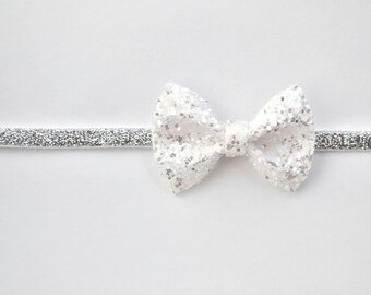 White/Silver Glitter TINY Bow Silver Woven Elastic Headband Blessing Bow Photo Prop for Newborn Baby Little Girl Child Adult Headwrap
