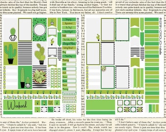 Cactus Cacti Love Succulent Green Black White Stripes Planner Stickers - for MAMBI Happy Planner Printable Stickers Instant Download 2 JPEGs