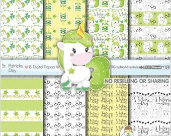 St. Patricks Day Digital Paper, St. Patricks Day Pattern, Unicorn Printable Paper, COMMERCIAL USE, St. Patricks Day Party, Paper