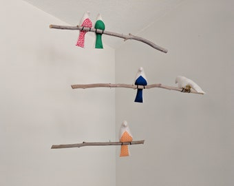 Bird Mobile - 5 Birds on 3 Tier Mobile - Multi-Colored Birds on Branches with Brown Feet - READY MADE