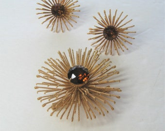 60s Vintage Pin & Earring Set Golden Mum 1969 Sarah Coventry, Topaz Jewel Glass Centers, Space Age Mod Spiked Flower Brooch + Clip Earrings