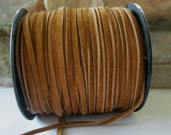 Genuine Suede Lace 3MM Top Quality Brown Leather Cord 3Yds