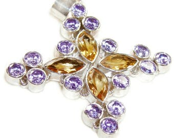 Amethyst and Citrine Sterling Silver Cross Pendant