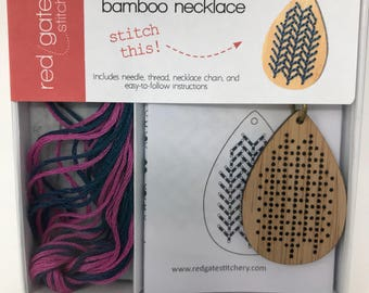 Cross Stitch Necklace Kit - DIY - Teardrop Bamboo Pendant