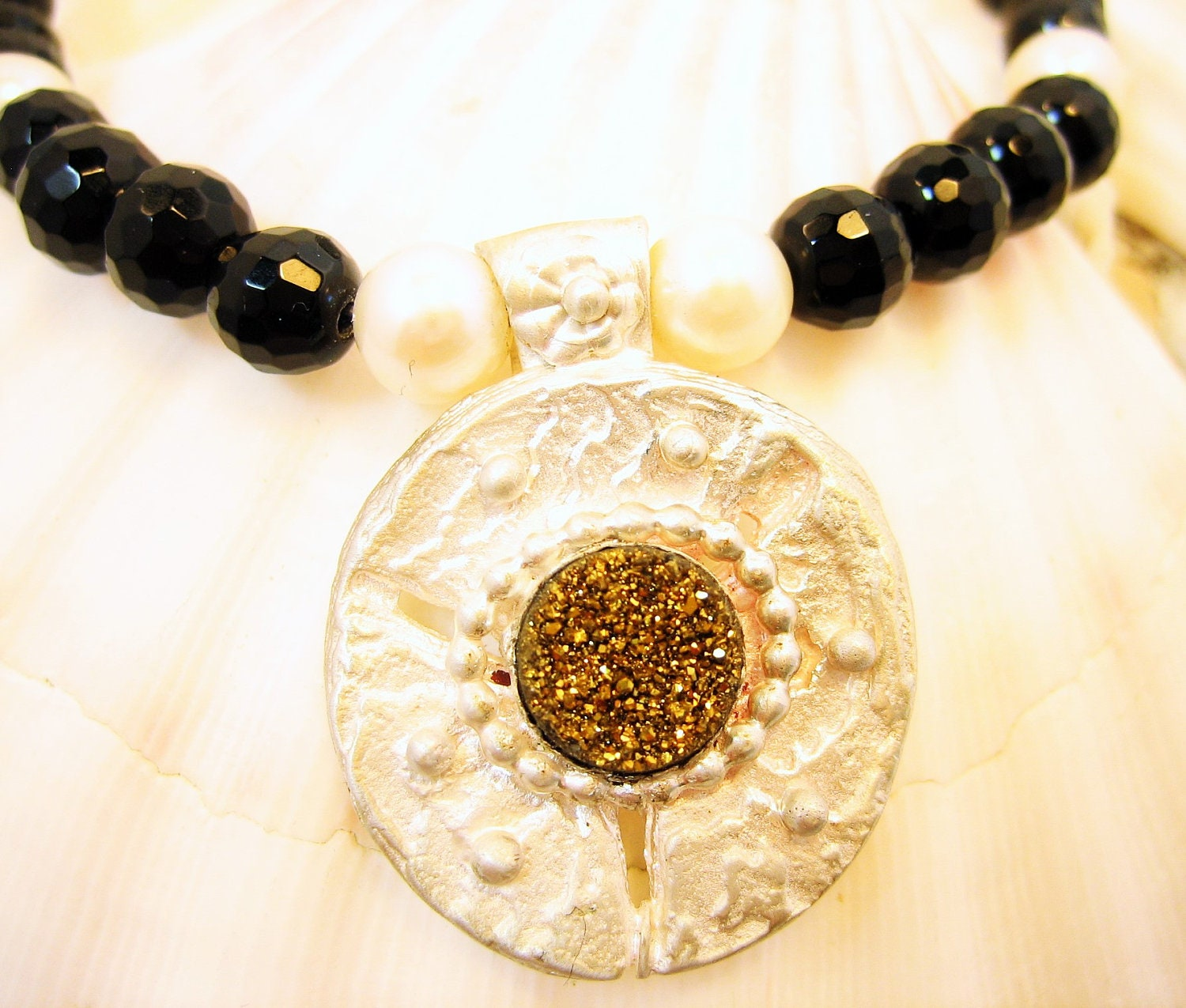 Golden druzy quartz on statement necklace, unique sea coin silver pendant, pearls and onyx, sea dollar silver necklace, black and pearls