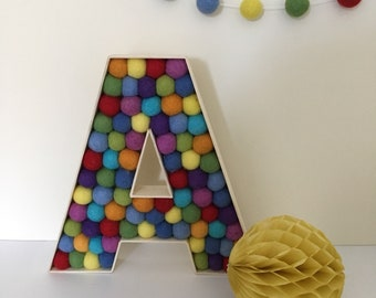 Wooden felt ball letter in rainbow colours - pom pom, home decor, nursery decor, new baby gift, christening present