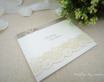 White Ivory Dream Laser Cut Floral Embossed Wedding Stationery