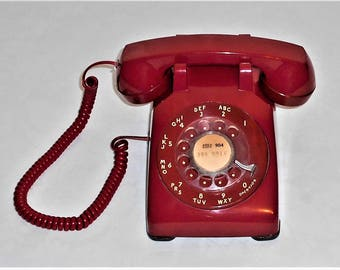 Vintage Red Bell South Rotary Dial Desk Telephone