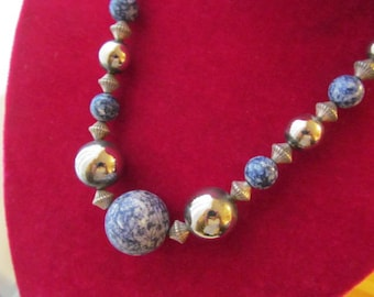 Gorgeous Blue and White Sodalite Silver Tone Beaded Necklace