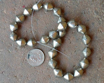 African Coin Silver Beads Diamonds (15x15mm)