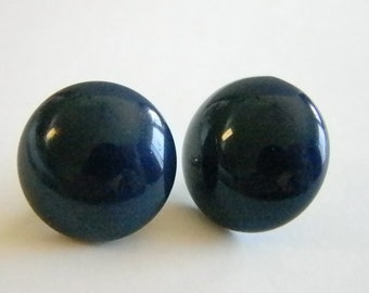 Classic Round Dark Blue Plastic Button Style Pierced Earrings