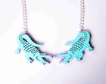 Alligator Necklace. Crocodile Statement Necklace. Pastel Florida Gator Pendant. Gift for her. Festival Fashion.