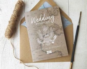 Travel Wedding, Destination Wedding, Travel Invitation, Travel Theme, Vintage Map Invitation, Vintage Travel, Passport Invitation, USA front