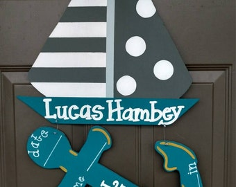 Sailboat with Anchor Hospital/Nursery Door Hanger