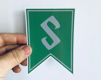 green and silver house pennant sticker bumper sticker   laptop sticker   skateboard sticker