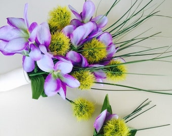 Purple ginger flowers and green lime onion grass and thistle wrap bouquet Flower Arangement and matching boutonnière