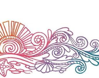 Rainbow Surfboard Embroidered on Hand Towel or Tea Towel