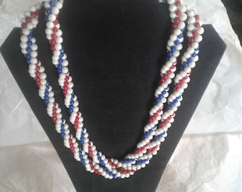 Vintage germany braided bead necklace red white blue, patriotic vintage bead necklace, multi-strand necklace, 1950's necklace, 4th of July
