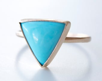 Turquoise Ring in Recycled 14k Gold - Turquoise and Gold Ring - Statement Ring - Cocktail Ring - Modern Geometric Ring - Triangle Gemstone