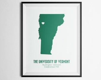 The University of Vermont, Burlington, Vermont, UVM Map Print
