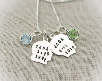 Mother or Grandmother Silhouette Boy or Girl Charm Necklace with Birthstones Customized Personalized Hand Stamped Jewelry