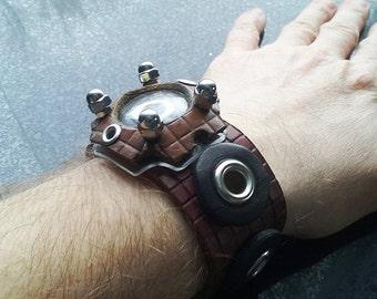 Time Portal Leather Cuff