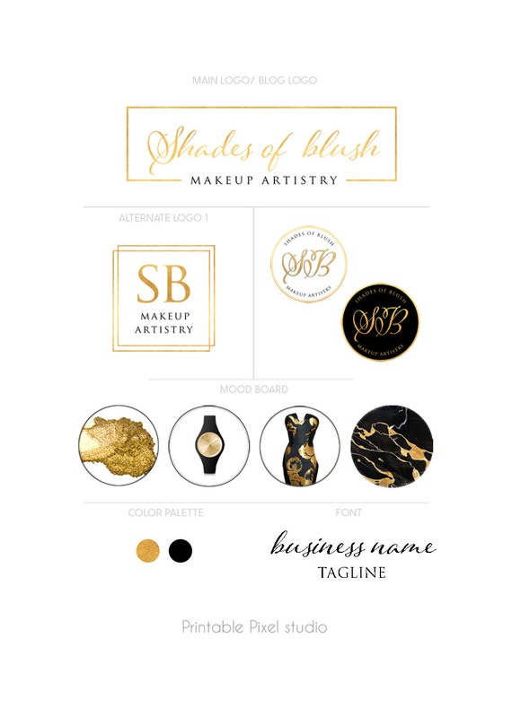 Black And Gold Branding Package Makeup Artist Logo