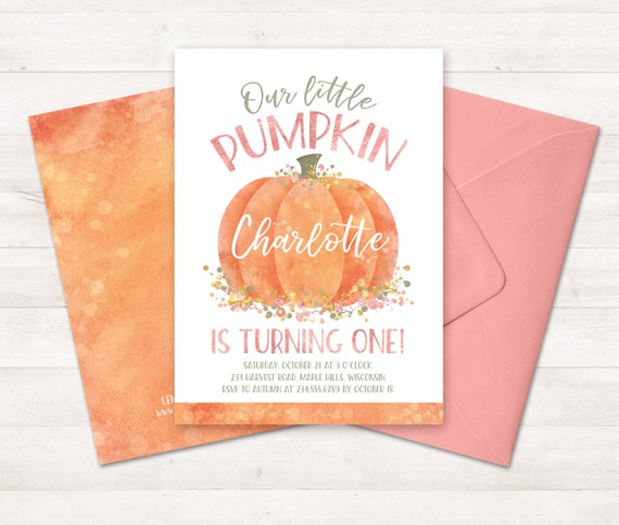 Little pumpkin first birthday invitation little pumpkin filmwisefo