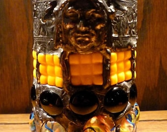 Native American Indian Stained Glass Mosaic Luminaire Candle Holder