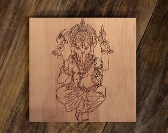 Ganesha: Woodburned Wall Décor