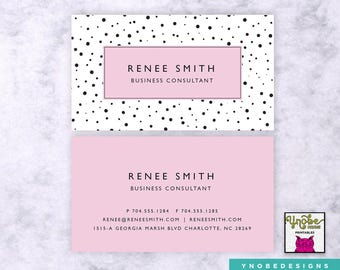 Polka Dots, Pink, Business Card, Florist,  Artist, Make Up Artist, Stylist, Fashion, Vistaprint, 3.5 x 2
