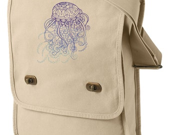 Drifting Jellyfish Embroidered Canvas Field Bag