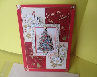 Map stickers and 3D (relief) decorated Christmas tree gold Merry Christmas