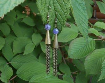 AMETHYST Earrings, Brass Chain Earrings, Purple Gemstone, February Birthstone, Rustic Jewelry, Dangle Earrings