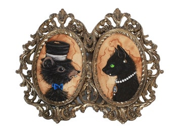 Mr. Rat & Mrs. Cat Double Portrait Acrylic Original Painting by Necessary Nonsense
