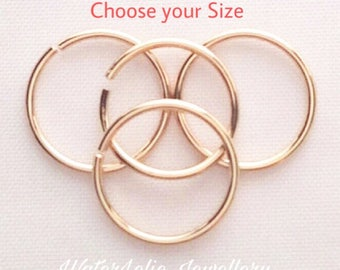 Solid 14k Gold nose ring. 14k seamless hoop. One ring. Second hole ring. Solid gold earrings. Tiny Gold Nose ring. Choose gauge and diameter