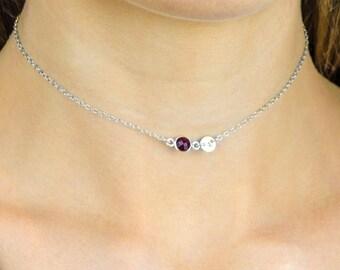Personalized Custom Birthstone Choker Necklace, Silver Choker, tiny gemstone necklace, July birthstone choker necklace, custom initial