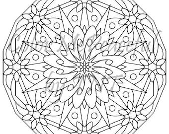 Mandala Adult Coloring Page - Mellow Mandalas, Volume 1, Page 2 | Printable Instant Download