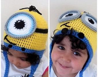 Minion Hat-halloween kostuum - pasgeboren Minion muts, haakwerk Minion Cap, voor twins, oorflap minion hoed, oor Flap Minion hoed