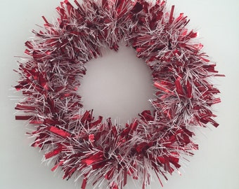 Valentine Wreath Red and White Christmas Wreath Winter Wreath Tinsel Holiday Wreath Trendy Wreath Wedding Decor Valentine's Day Decor