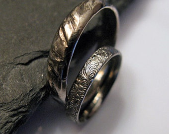 Black Rhodium Wedding Band Set Viking Ring Rustic Wedding Ring Set Unique Wedding Band Mens Wedding Band Black Wedding Band Set Oxidized