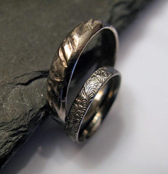 Black Rhodium Wedding Band Set Viking Ring Rustic Wedding Ring