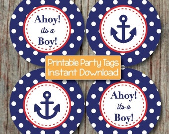 Navy Blue Red Nautical Baby Shower Decoration Anchor Ahoy its a Boy Digital Printable INSTANT DOWNLOAD 221