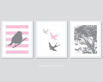 Modern Bird and Tree Nursery Art Prints - Set of 3 Prints -  Baby Girl Nursery Decor - Pink and Grey - Swallow Bird Print - Woodland Decor