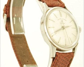 Favre-Leuba vintage wrist watch, 17 Jewels, heavy silver-toned & stainless steel round water resistant case
