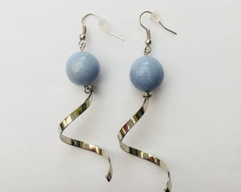 Light blue ceramic Stud Earrings