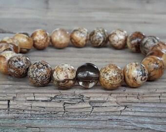 Picture jasper bracelet smoky quartz bracelet yoga mala bracelet gemstone bracelet brown beaded bracelet calming bracelet inspiring jewelry
