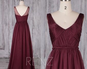 Bridesmaid Dress Wine Chiffon Dress,Wedding Dress,Ruched V Neck Maxi Dress,Illusion V Back A-line Formal Dress,Sleeveless Prom Dress(H217C)