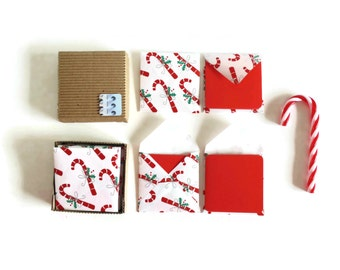Candy Canes Mini Stationery Set - Christmas, Cute, Happy Holidays, Small Square Envelopes, Red Blank Note Cards Set, Tags, Gifts Under 15