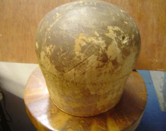 Old wooden millinery block hat mold